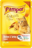 pamper fine cuts in jelly chicken and turkey flavour cat feeding