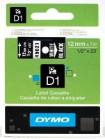 dymo d1 standard 12mm x 7m white on black label cassette office machine