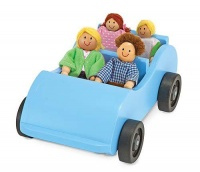 melissa doug wooden car poseable passengers baby doll