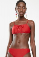 Womens South Beach Bikini Top Scallop Edge Red