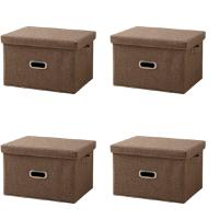 Set of 4 Small Foldable Storage Box Coffee