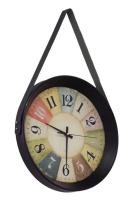 Elegant Wall Clock Glass Less 39cm Belt Hanging Design