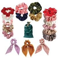 Scrunchies–5 Satin 5 Velvet 3 With Ribbons and Pearls 5 Skinny Hair Ties
