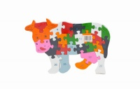 Animal Cow Wooden ABC Alphabet Learning Puzzles