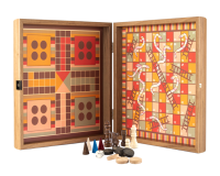 Manopoulos OrangePink Backgammon 4 in 1 Combo Game Set