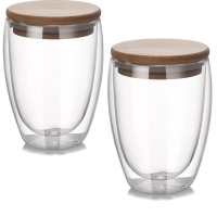 Love Of Pretty Double Walled Glass Mugs with Bamboo Lid 350ml capacity Set of 2