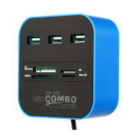 USB 20 HUB Card Reader Black Blue