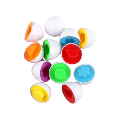 Matching Egg Toys Color Shape Digital Recognition Game for Kids 12 Pieces
