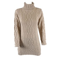 Blackcherry Chunky Knit Khaki Polo Dress
