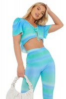 I Saw it First Ladies Blue Petite Ombre Print Tie Front Crop Top