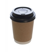 100 Premium Disposable Brown Coffee Cups With Lids