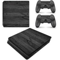 SkinNit Decal Skin For PS4 Slim Black Wood