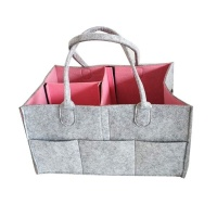 Foldable Baby Diaper Caddy Organizer Carrier Bag Grey Pink