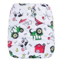 Adjustable Baby Reusable Cloth Diaper Nappy White Farm