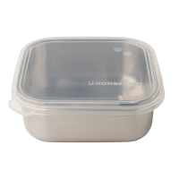 UKonserve Clear Silicone Stainless 400ml Square Plastic Free