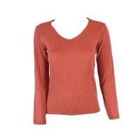 Blackcherry Coral Brick Skinny V neck Pullover