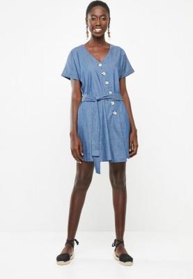 Asymmetrical Button Detail Denim Dress Light Blue