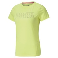 Puma Womens Run Logo Short Sleeve Tee Yellow