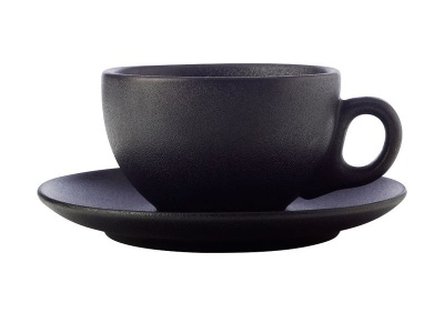 Maxwell Williams Maxwell and Williams Black Caviar Cups and Saucers 250ml Set of 4