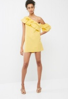 Womens Dailyfriday Tiered One Shoulder Dress Primrose Yellow