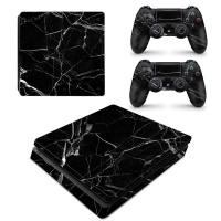 SkinNit Decal Skin For PS4 Slim Black Marble