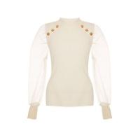 Quiz Ladies Cream Knitted Organza Sleeve Top Cream