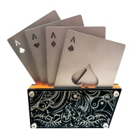 Stainless Steel Playing Cards Coaster Bottle Opener Set of 4 with Base