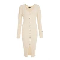 Quiz Ladies Cream Puff Sleeve Knitted Midi Dress Cream