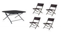 Patio Foldable Glass Table with 4 Rattan Chairs Set