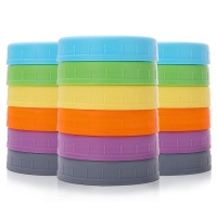 Maisonware Reusable Leakproof Silicone Mason Jar Lids Pack of 18