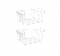 2 Pack Stackable Hanging Wire Baskets White