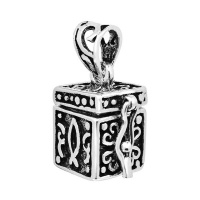 925 Sterling Silver Oxidized Antique Prayer Box Pendant