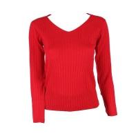 Blackcherry Red Skinny V neck Pullover