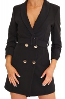 I Saw it First Ladies Black Double Button Belted Blazer Dress