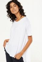 Womens Cotton On Lara Spliced Summer Tunic Elbow Sleeve Top White