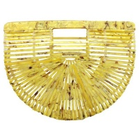 Blackcherry Yellow Shell Bamboo Saddle Bag