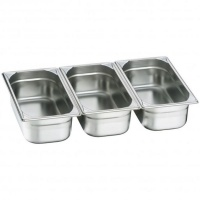 Stainless Steel InsertFood Pan Third Size Set of 3