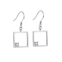 Embellished 925 Sterling Silver Hanging Drop Earrings Square