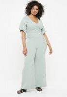Womens Missguided Curve V Neck Wide Leg Rib Jumpsuit Green