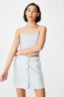 Womens Factorie Button Thru Denim Skirt Summer Blue