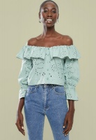 Womens Superbalist Off The Shoulder Anglaise Blouse Sage