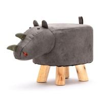Animal Footstool Ottoman for Kids Rhino