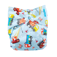 Adjustable Baby Reusable Cloth Diaper Nappy Sky Blue Construction