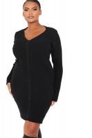 I Saw it First Ladies Black Plus Knitted Button Dress Mini Dress