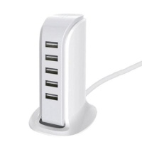 5 Port Universal Multi USB Charger 6A USB Hub White