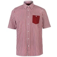 Pierre Cardin Mens Pocket Detail Striped Short Sleeve Shirt SkyWhite Parallel Import