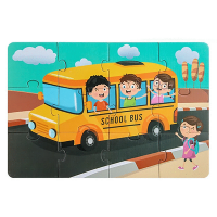 12 Pieces Of Kids Educational School Bus Jigsaw Puzzle Toy