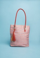 Womens Superbalist Woven shopper bag with tassel bluered