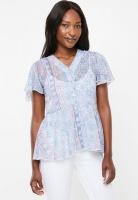 Womens Edit Flutter Sleeve Button Down Blouse Tile Print