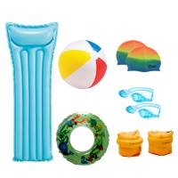 Pool Combo Intex Pool Bed Beach Ball Swim Goggles Caps Ring and Arm Ring Set